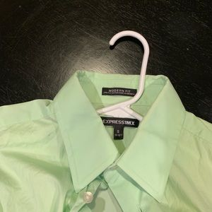 Express button up lime green size small